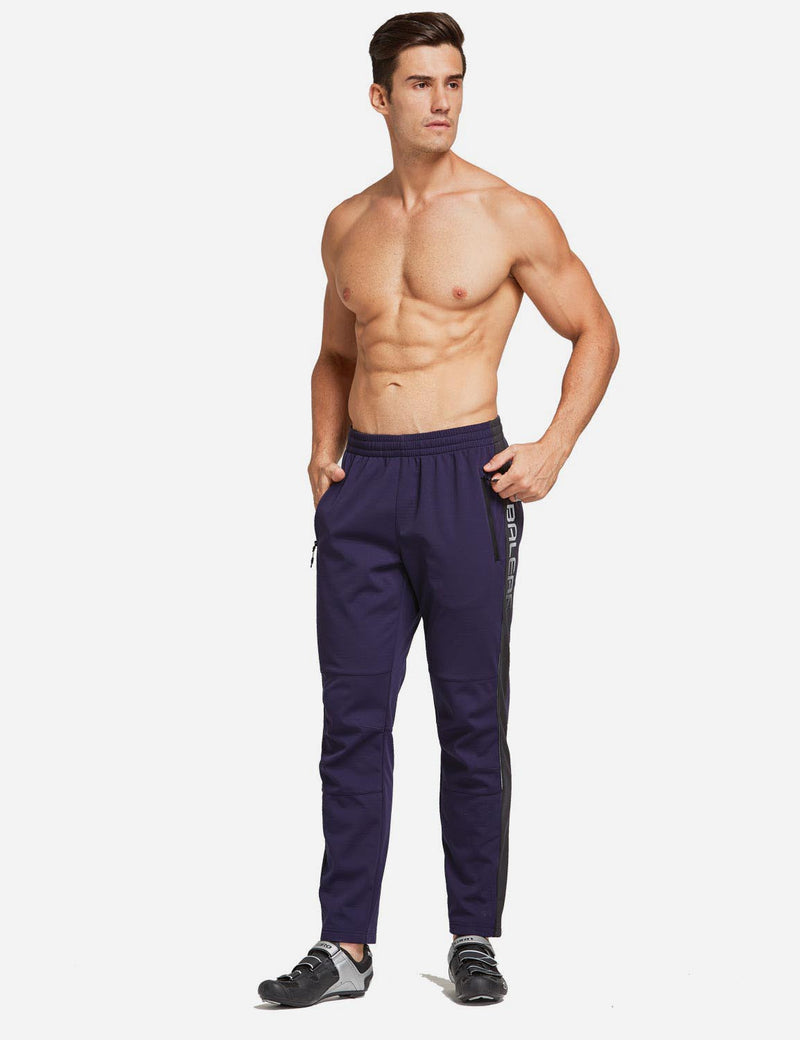 Baleaf Men's Thermal Fleece-Lined Windproof Pocketed Sweat Pants Blue Full