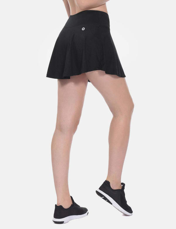 Baleaf Womens Pleated Cable Hole Skort black front