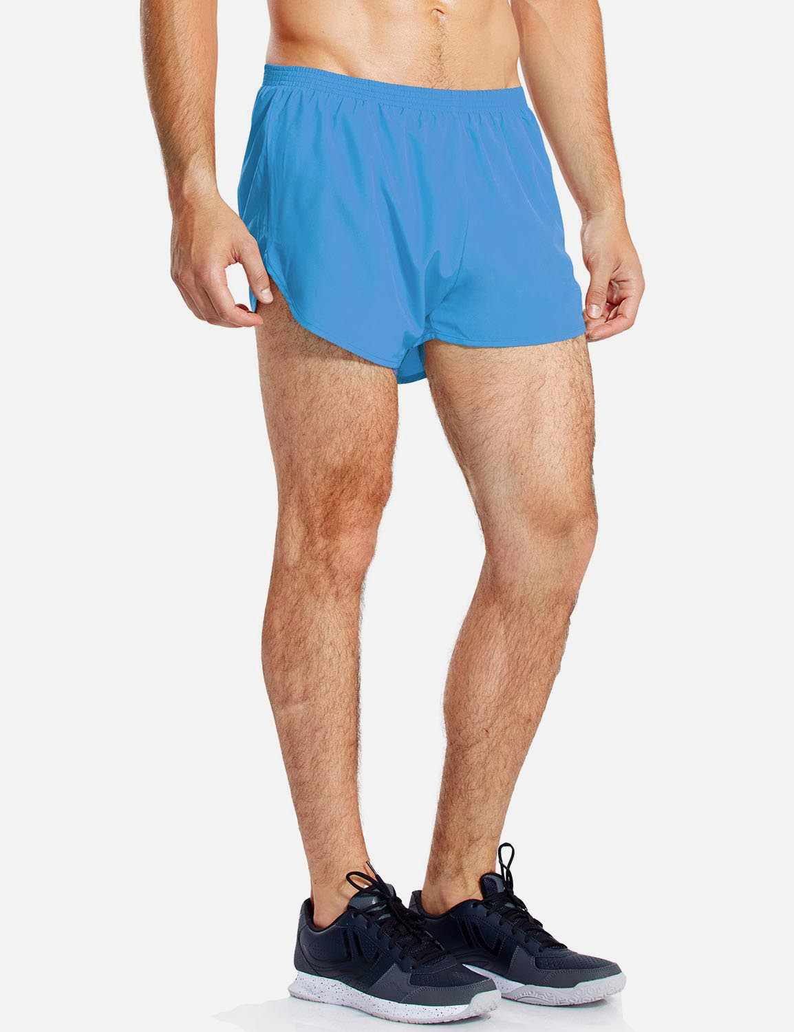 Baleaf Mens 3'' Split-Leg Basic Running Shorts light blue side