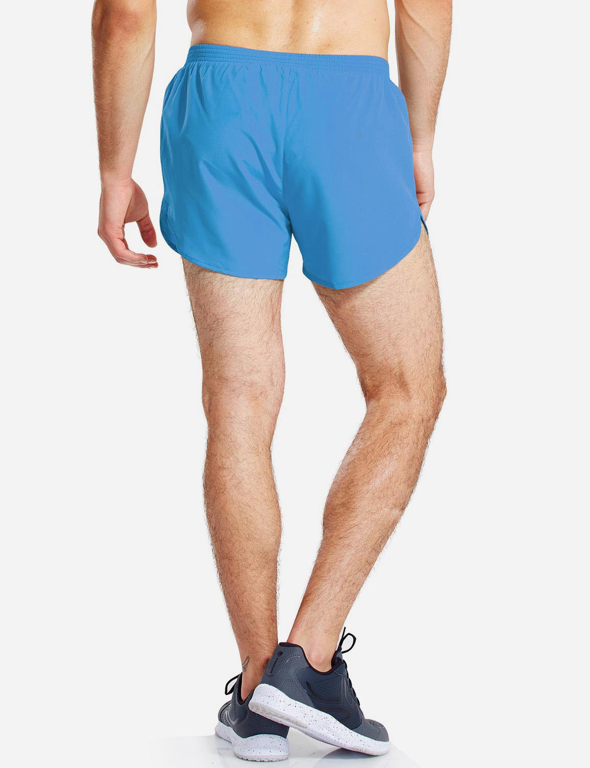 Baleaf Mens 3'' Split-Leg Basic Running Shorts light blue back