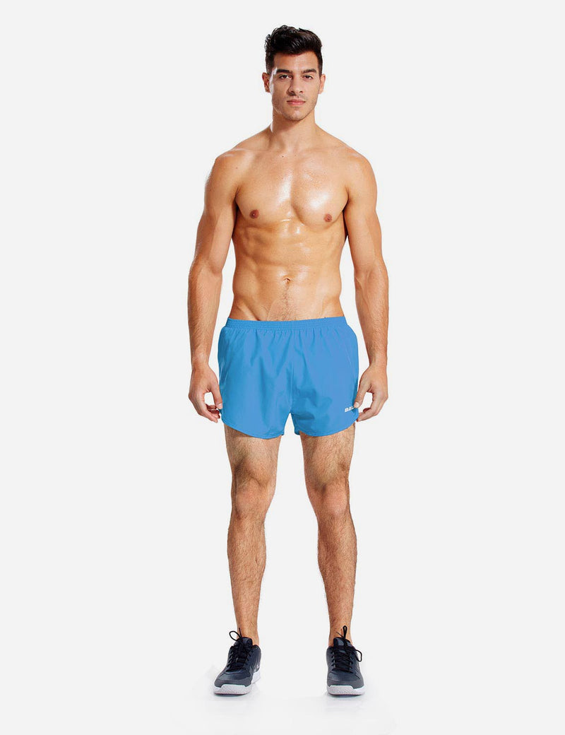 Baleaf Mens 3'' Split-Leg Basic Running Shorts light blue full