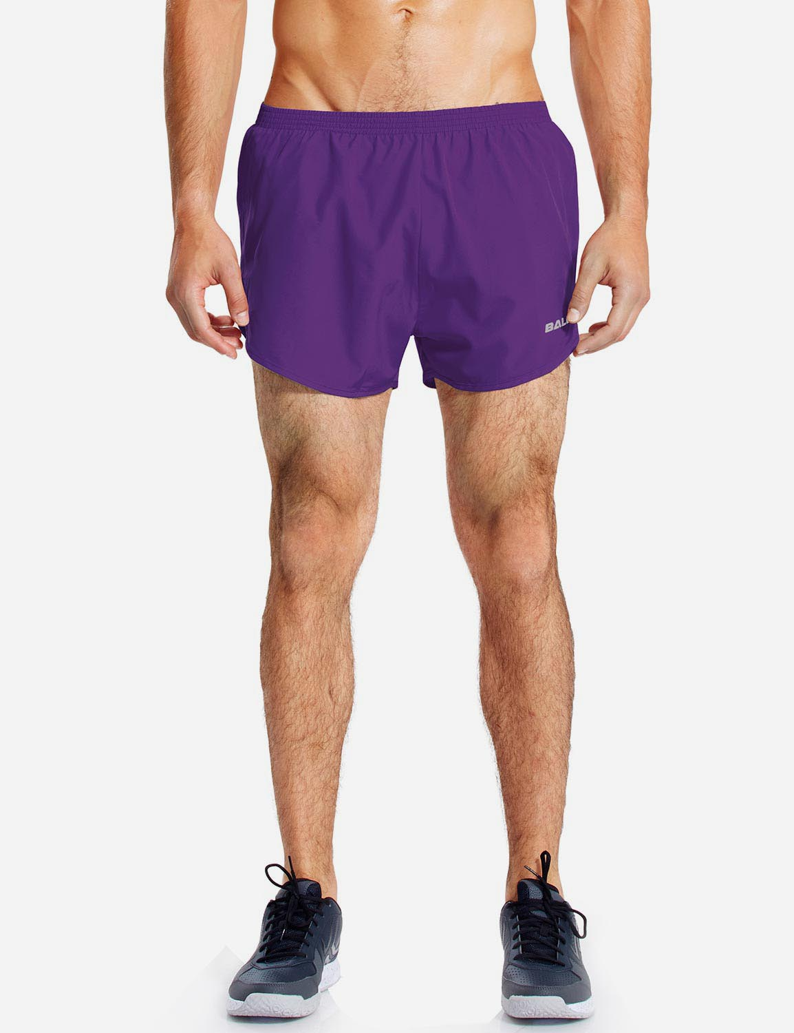 Baleaf Mens 3'' Split-Leg Basic Running Shorts purple front