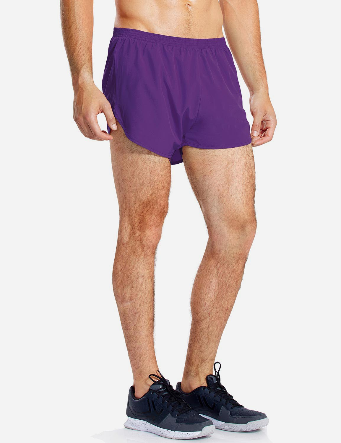 Baleaf Mens 3'' Split-Leg Basic Running Shorts purple side