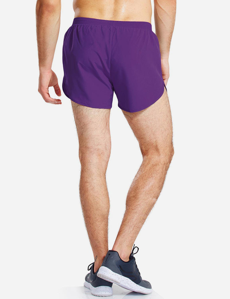 Baleaf Mens 3'' Split-Leg Basic Running Shorts purple back