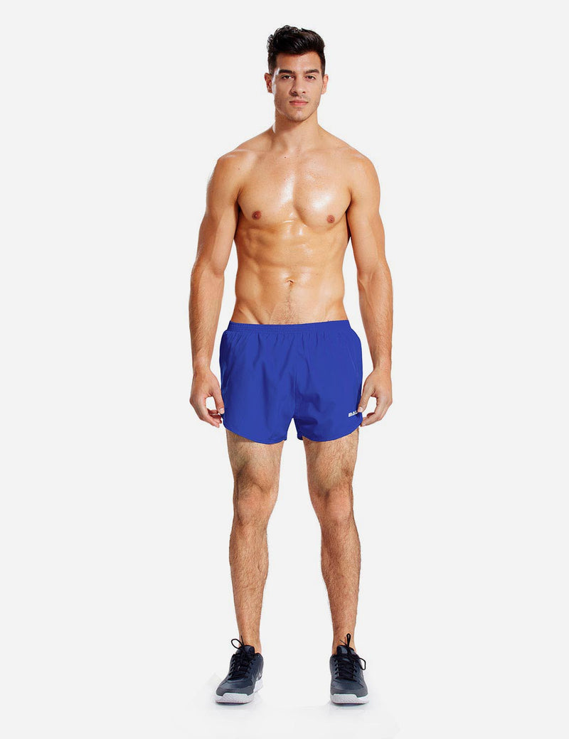 Baleaf Mens 3'' Split-Leg Basic Running Shorts royal blue back