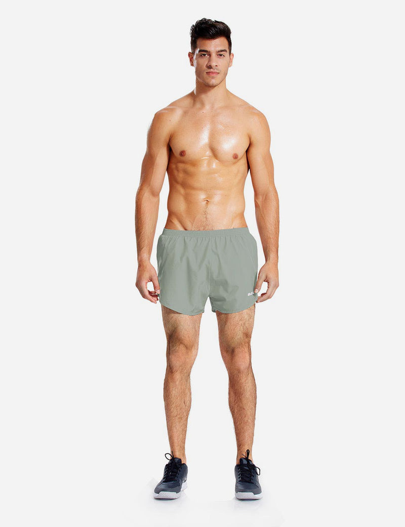 Baleaf Mens 3' Split-Leg Basic Running Shorts army green details