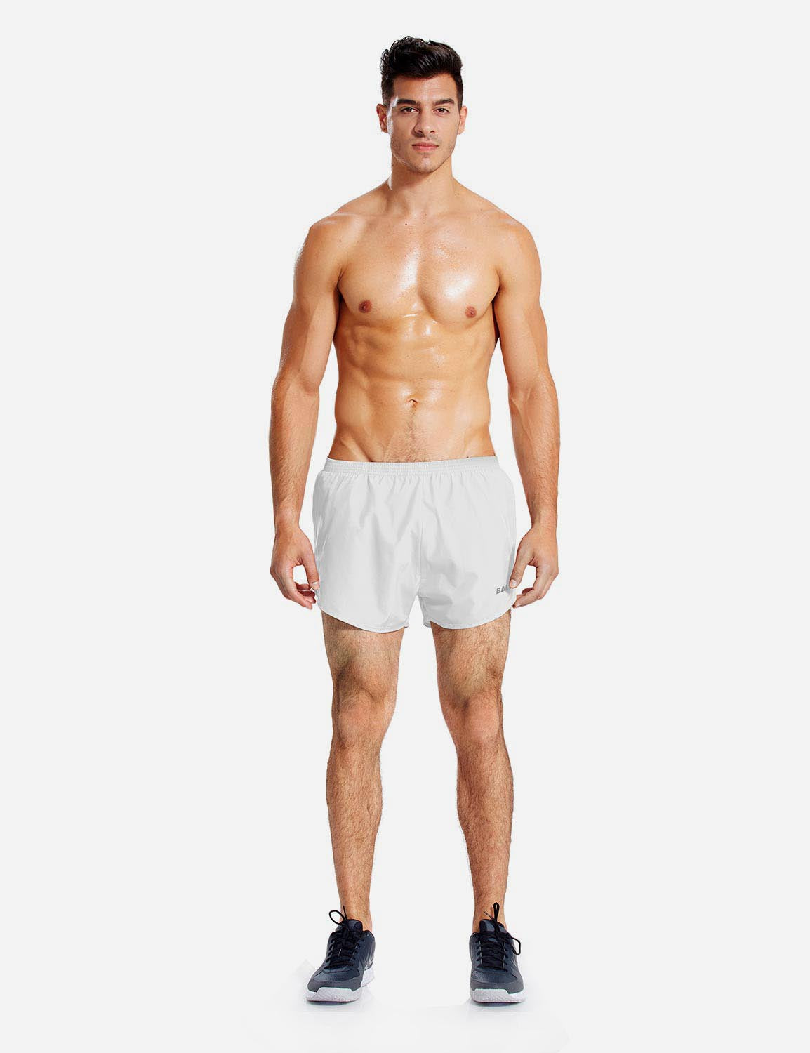 Baleaf Mens 3'' Split-Leg Basic Running Shorts white front
