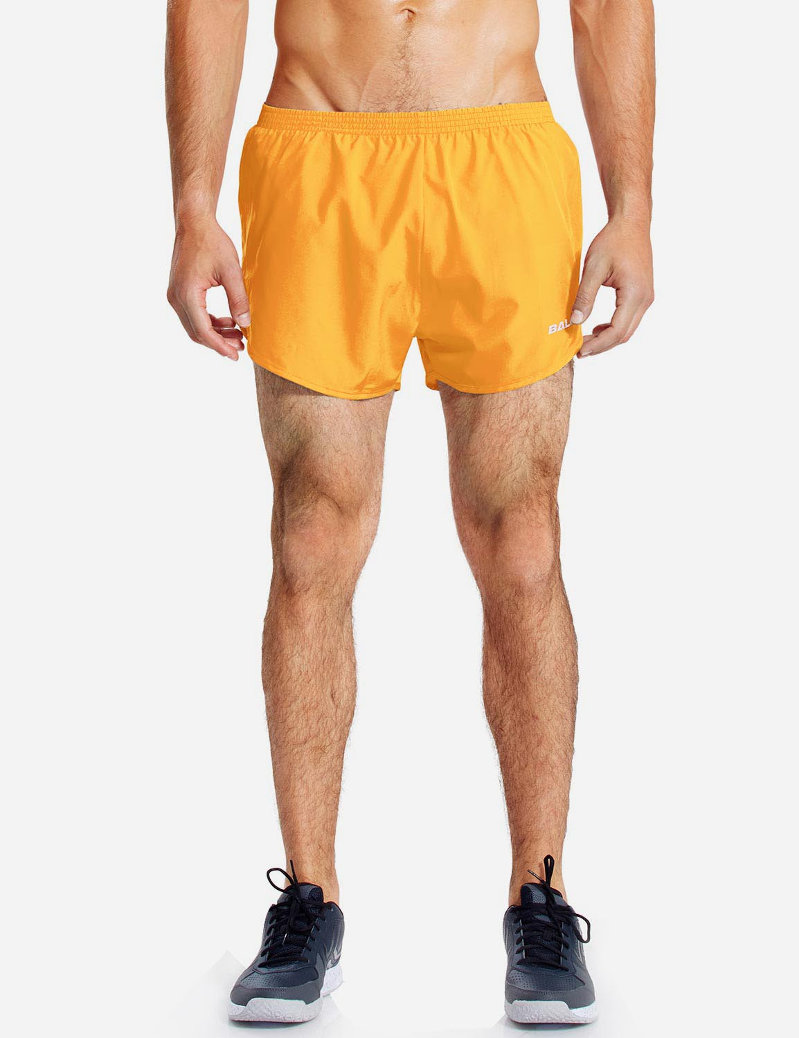 Baleaf Mens 3'' Split-Leg Basic Running Shorts yellow front