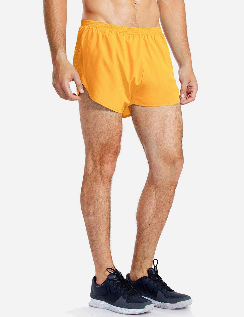 Baleaf Mens 3'' Split-Leg Basic Running Shorts yellow side