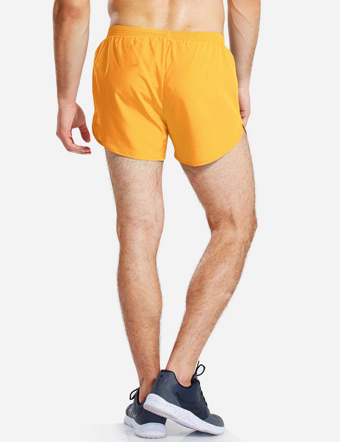 Baleaf Mens 3'' Split-Leg Basic Running Shorts yellow back