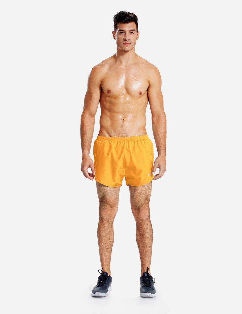 Baleaf Mens 3'' Split-Leg Basic Running Shorts yellow full
