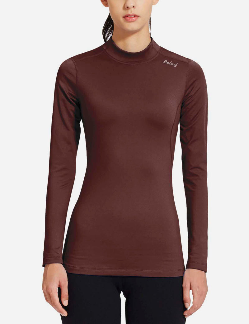 baleaf womens Basic Mock-Neck Compression Long Sleeved Shirt purple front
