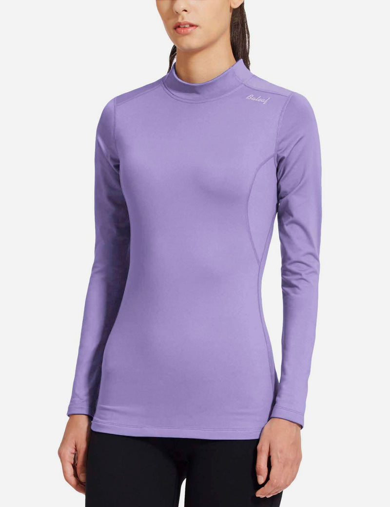 baleaf womens Basic Mock-Neck Compression Long Sleeved Shirt purple side