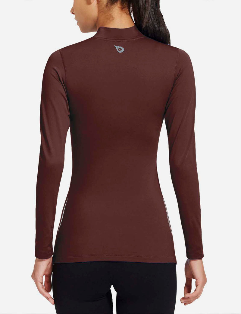 baleaf womens Basic Mock-Neck Compression Long Sleeved Shirt purple back