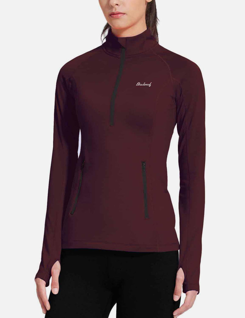 Baleaf Womens Brushed Half-Zip Thumb Hole Collared Compression Shirt Army Green side