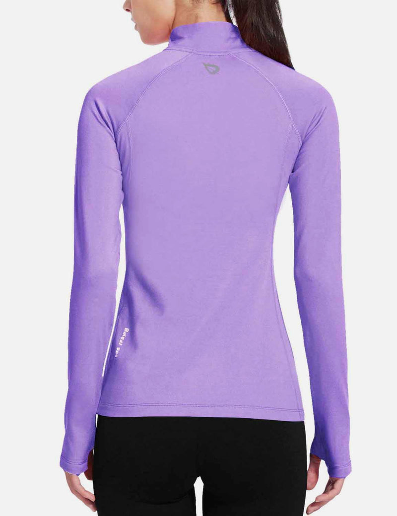 Baleaf Womens Brushed Half-Zip Thumb Hole Collared Compression Shirt Army Green back