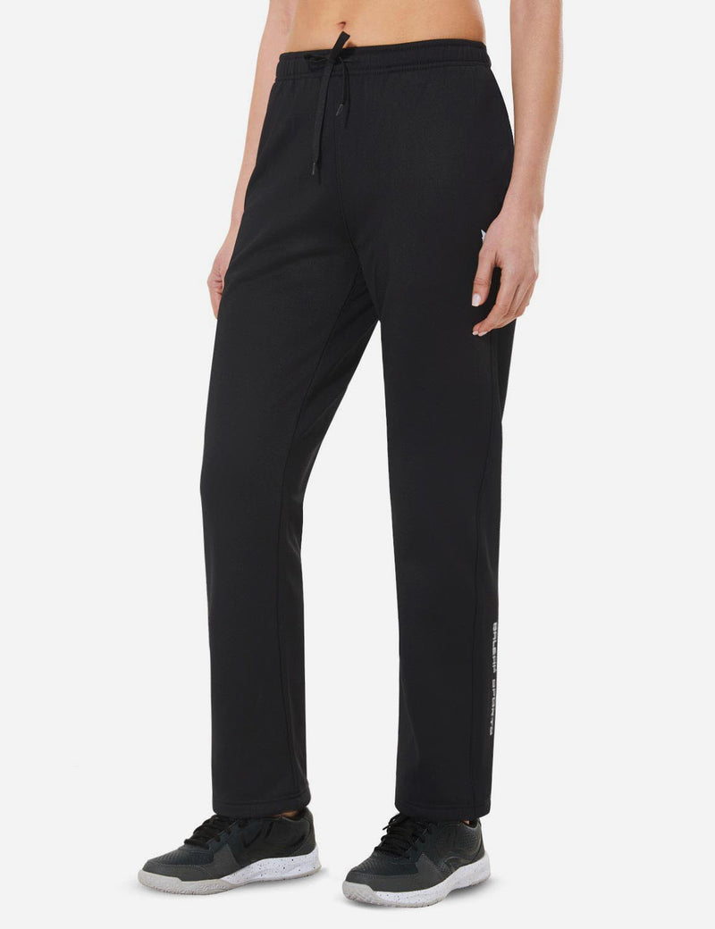 Baleaf Womens Loose-Fit Side Pocketed Tapered-Leg Joggers black back
