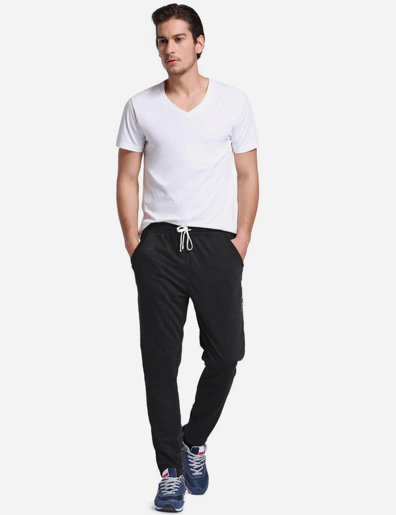 Baleaf Mens Tapered & Drawcord Comfortable Joggers black back