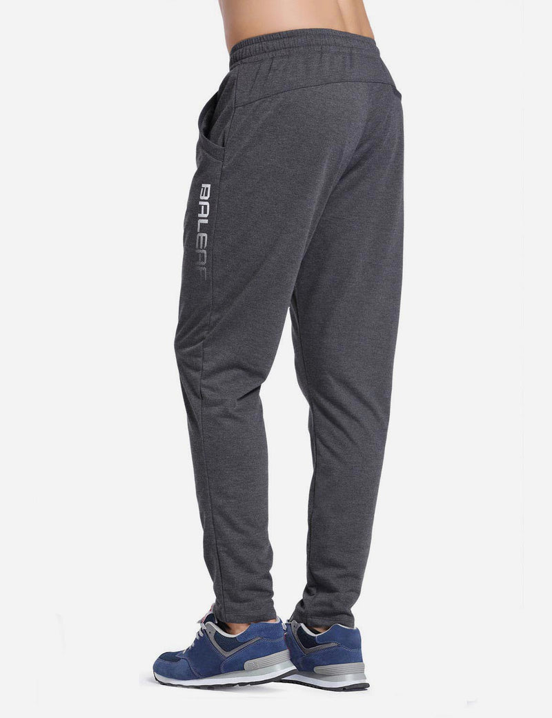 Baleaf Mens Tapered & Drawcord Comfortable Joggers dark grey back