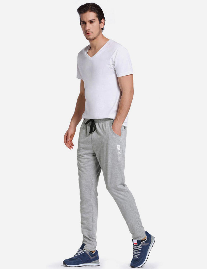 Baleaf Mens Tapered & Drawcord Comfortable Joggers light grey back