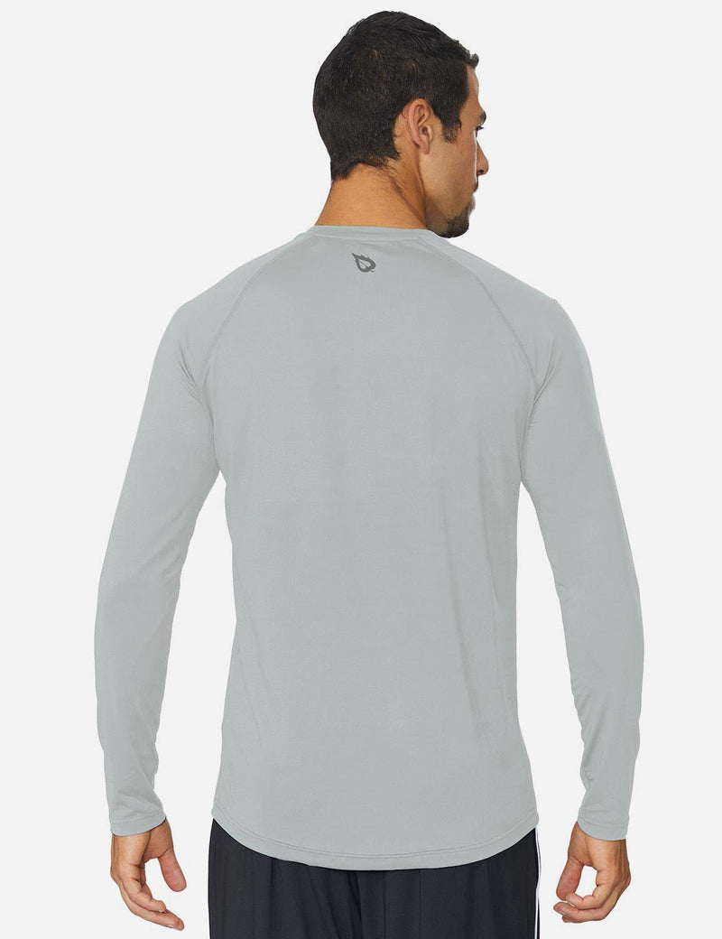 Baleaf Mens Workout Crew-Neck Slim-Cut Long Sleeved Shirt Silver front