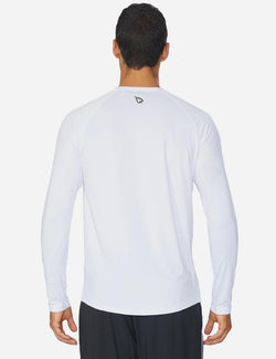 Baleaf Mens Workout Crew-Neck Slim-Cut Long Sleeved Shirts white front