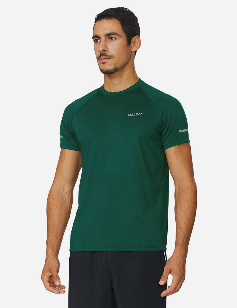 Baleaf Mens Workout Crew-Neck Slim-Cut Short Sleeved Shirt Blackish Green Front