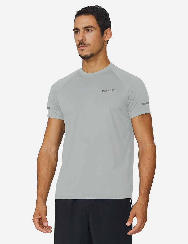 Baleaf Mens Workout Crew-Neck Slim-Cut Short Sleeved Shirt Silver Back