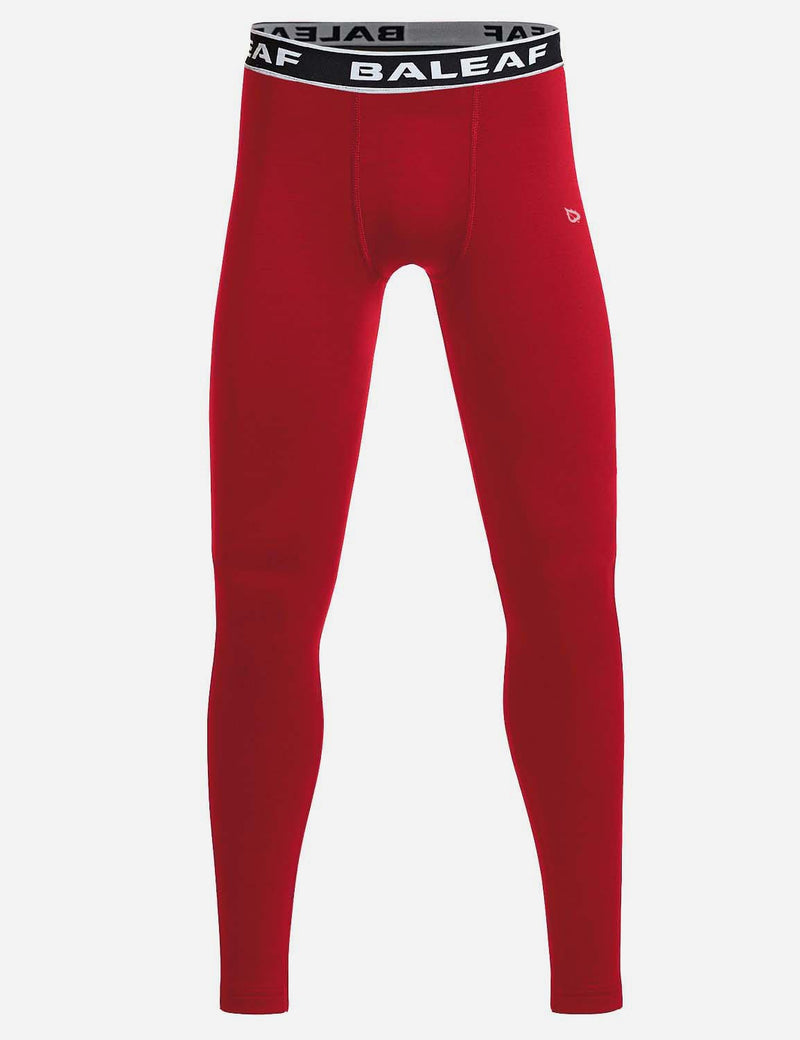 Baleaf Boy's Basic Compression Tights red front