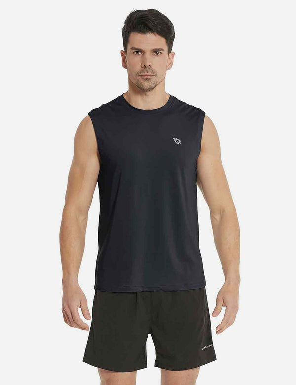 Baleaf Mens Quick-Dry Armholes Tanks black front