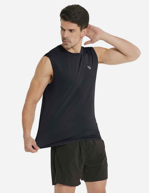 Baleaf Mens Quick-Dry Armholes Tanks black side