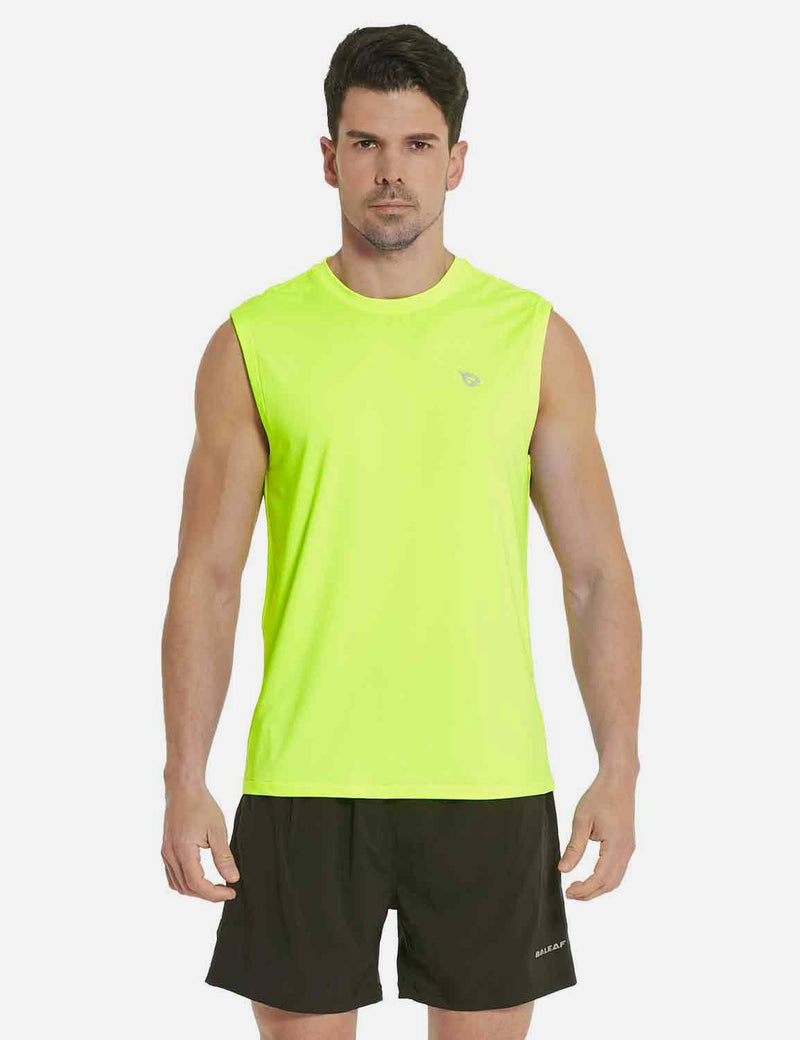 Baleaf Mens Quick-Dry Armholes Tanks neon yellow front