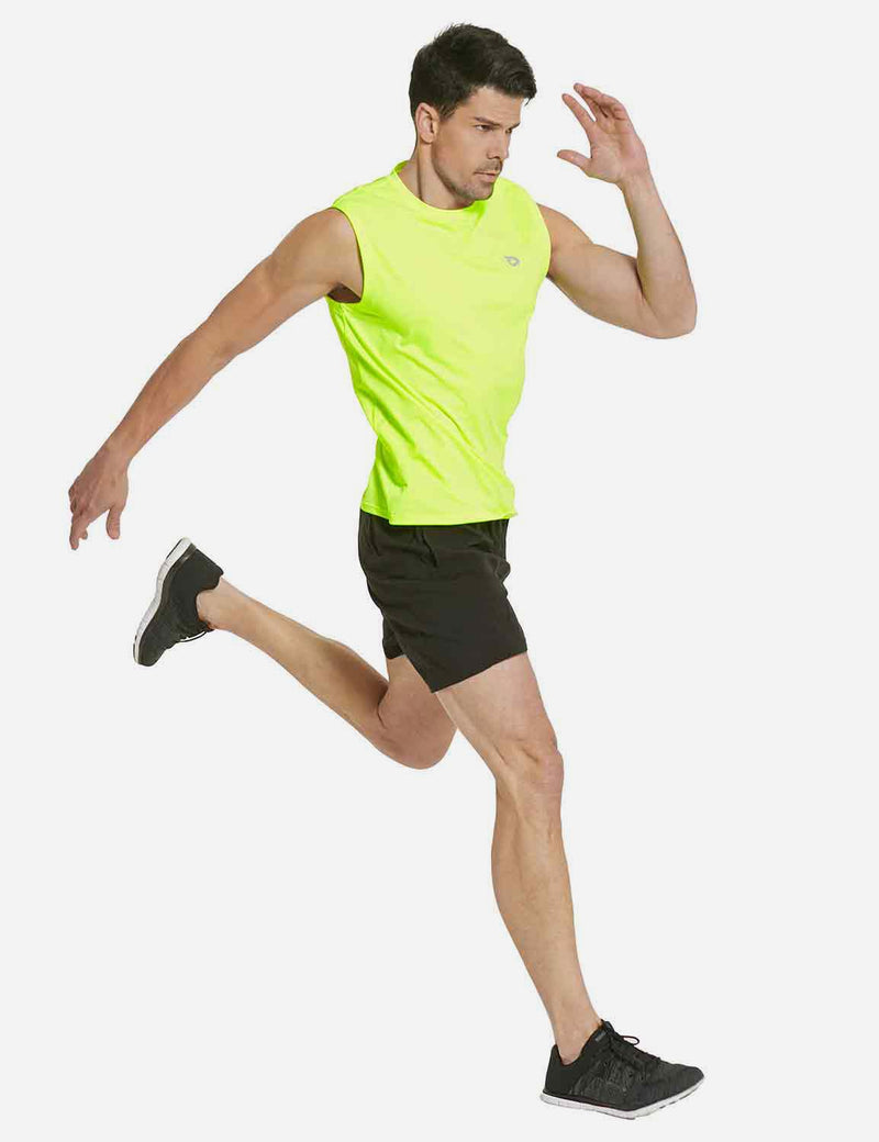 Baleaf Mens Quick-Dry Armholes Tanks neon yellow full