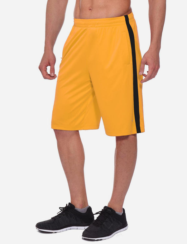 Drawstring Pocketed Extra Long Basketball Shorts Yellow Side