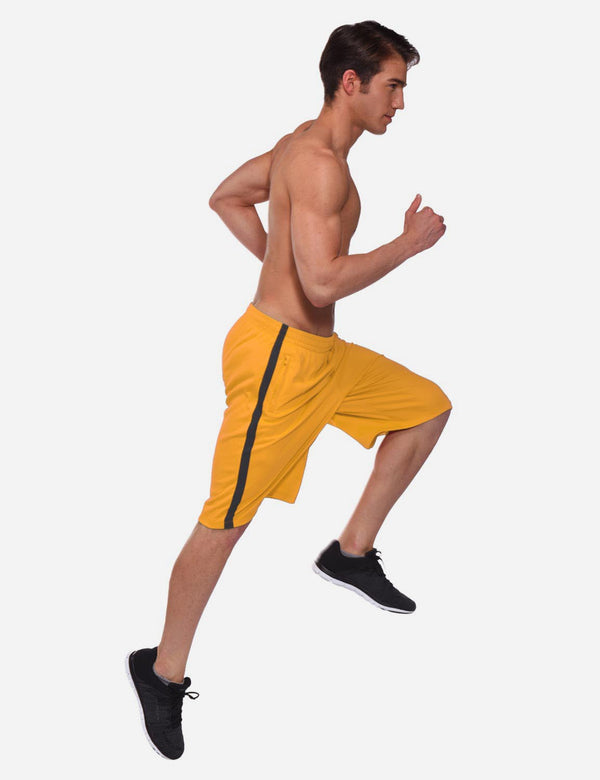 Drawstring Pocketed Extra Long Basketball Shorts Yellow Full