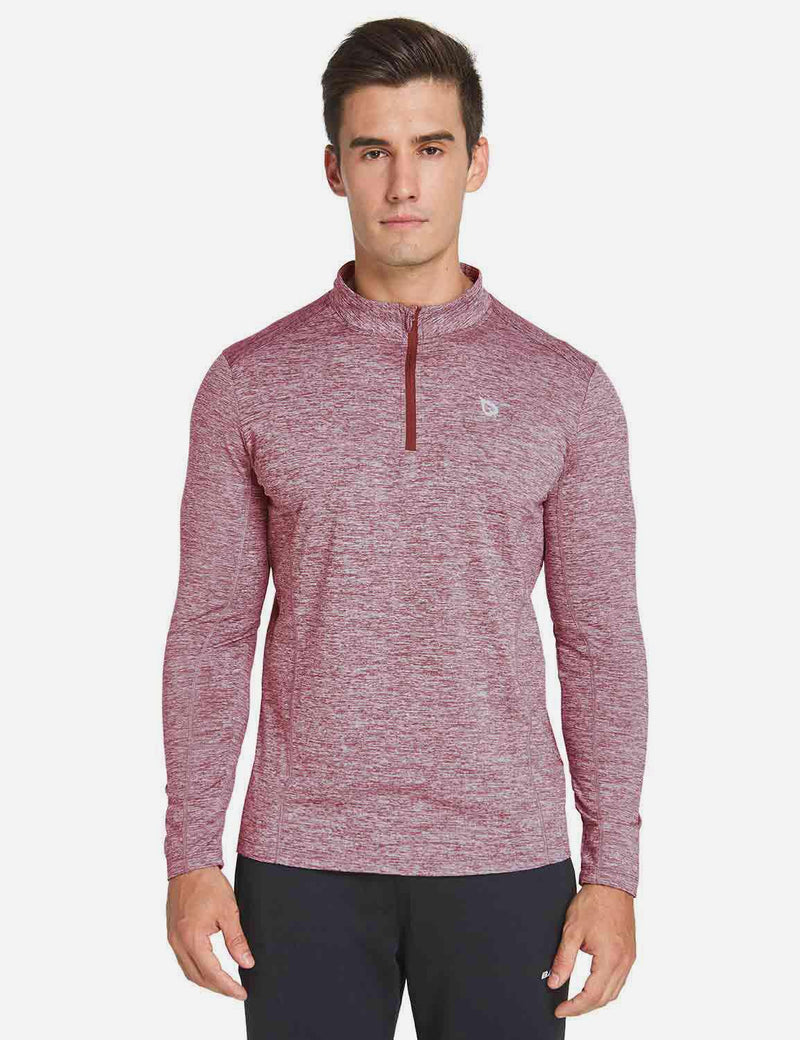 Baleaf Mens Fleece 1/4 Zipper Thermal Long Sleeved Shirt heather coral front