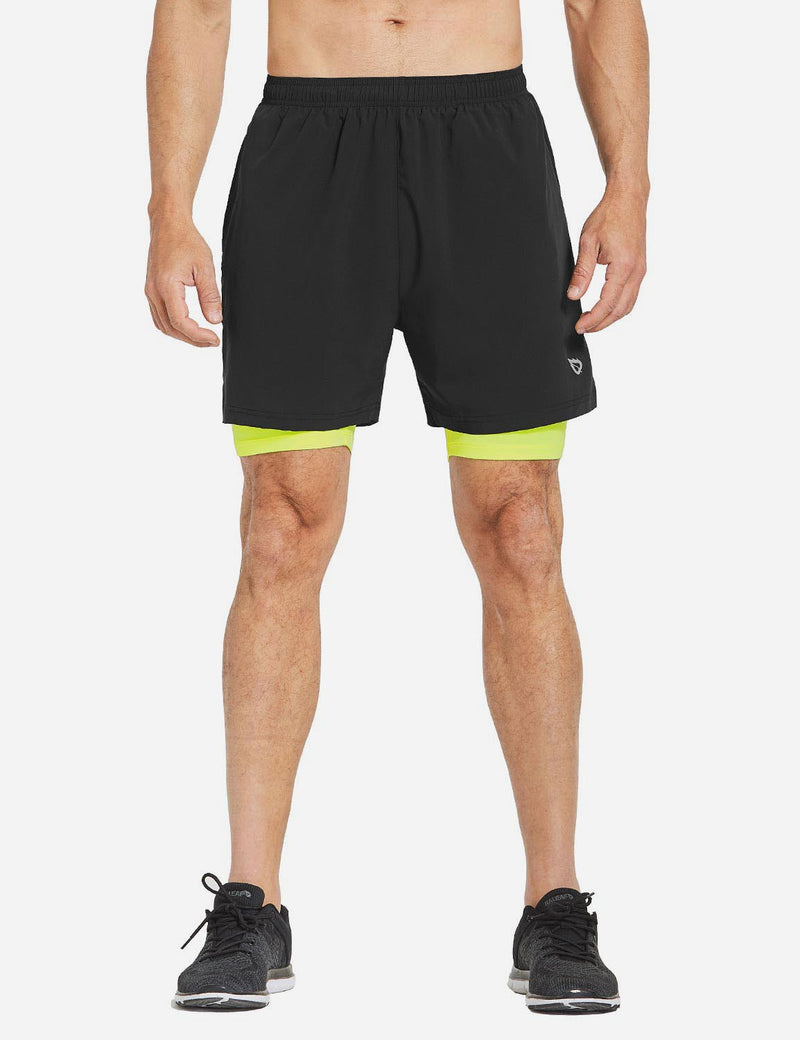 Baleaf Mens 2-in-1 Split Pocketed Compression Gym Shorts black fluorescent green back