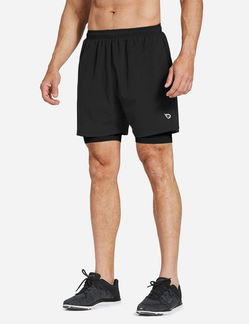 Baleaf Mens 2-in-1 Split Pocketed Compression Gym Shorts black black back