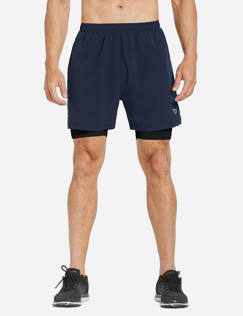 Baleaf Mens 2-in-1 Split Pocketed Compression Gym Shorts dark blue black back