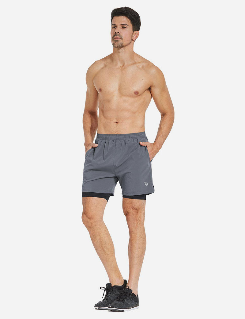 Baleaf Mens 2-in-1 Split Pocketed Compression Gym Shorts grey black back