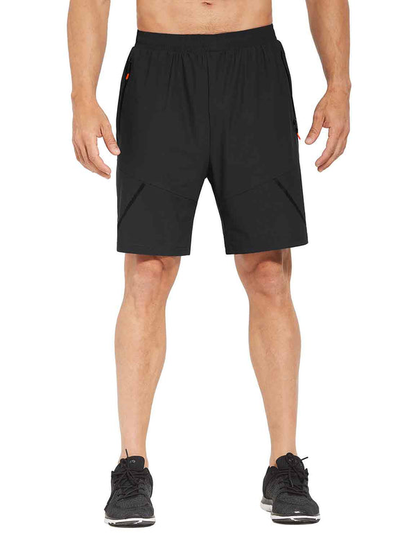 Baleaf Mens Basic Zipper Pocketed Workout & Gym Shorts black front