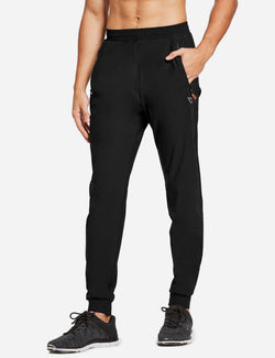 Baleaf Mens Loose-Fit Zipper Side Pocketed Tapered-Leg Joggers Black side
