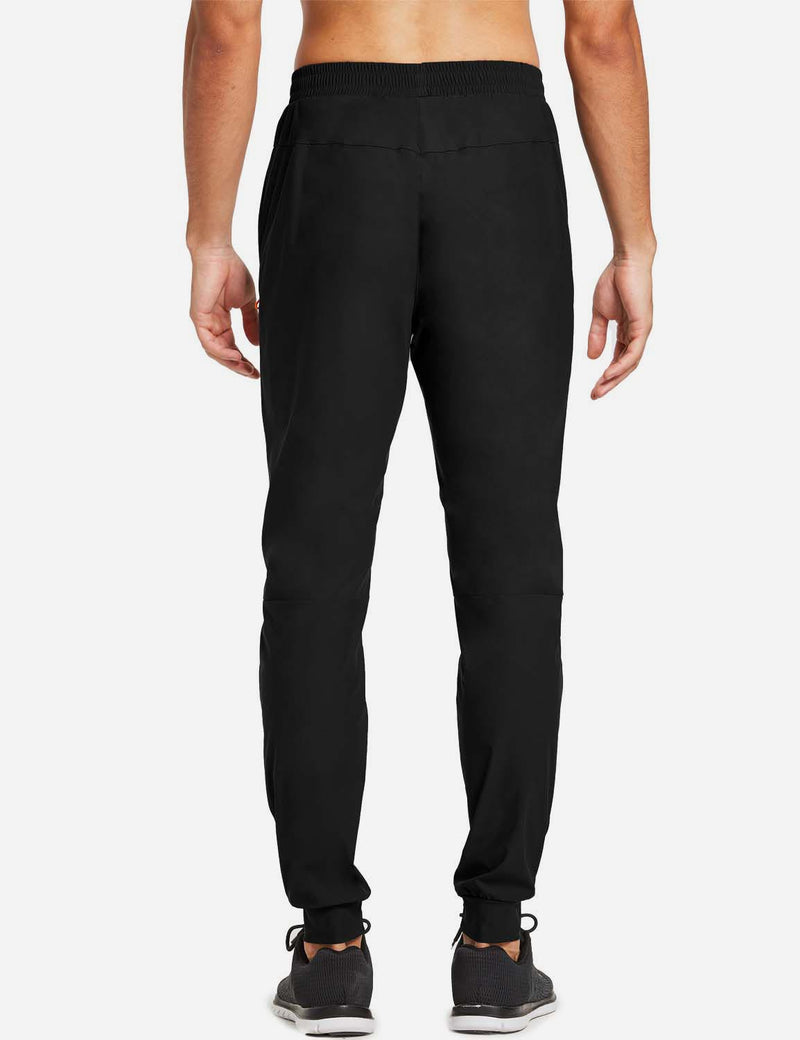 Baleaf Mens Loose-Fit Zipper Side Pocketed Tapered-Leg Joggers Black back