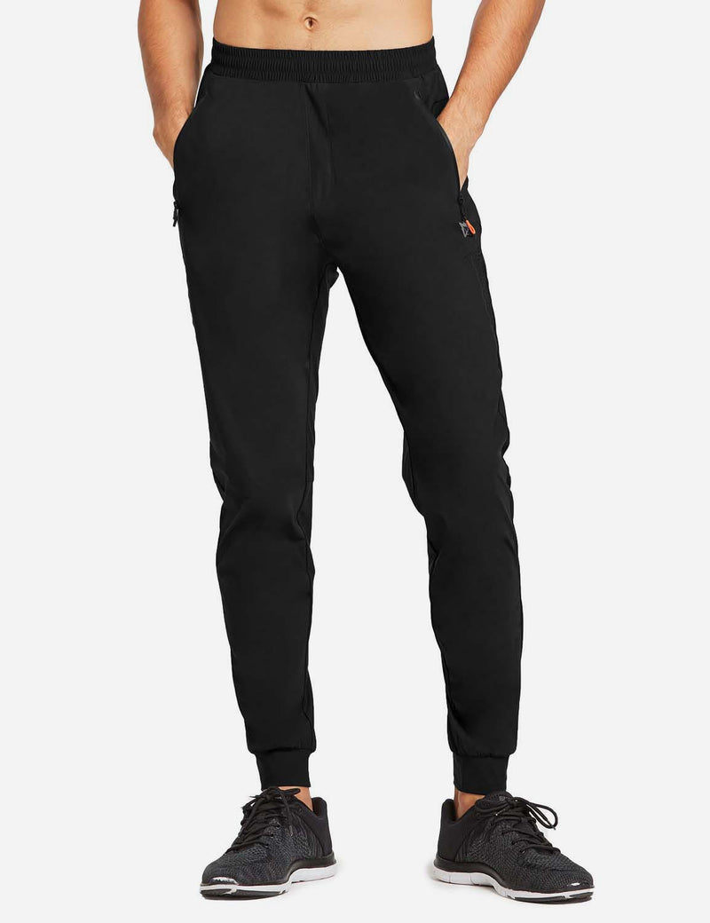 Baleaf Mens Loose-Fit Zipper Side Pocketed Tapered-Leg Joggers Black front