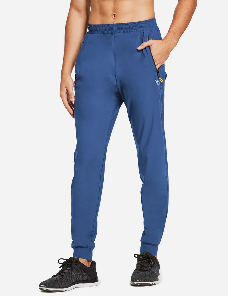 Baleaf Mens Loose-Fit Zipper Side Pocketed Tapered-Leg Joggers Blue side