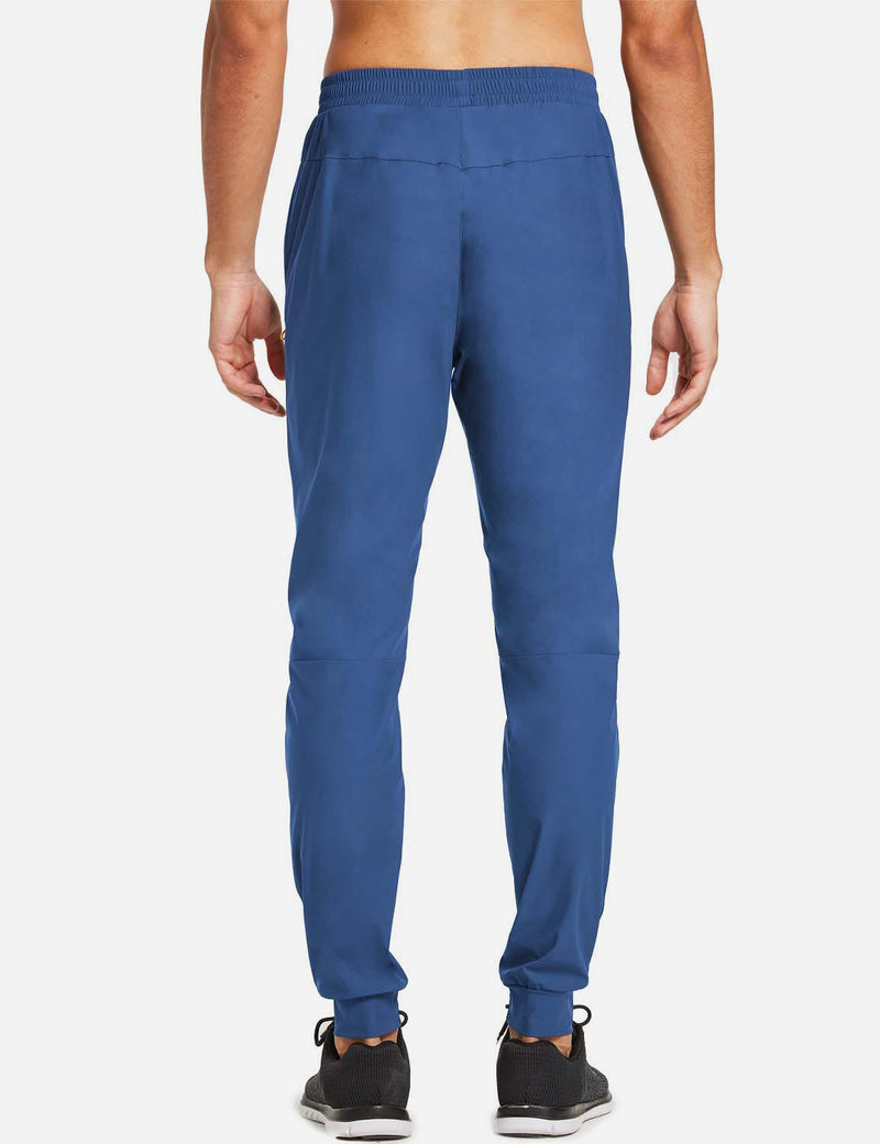 Baleaf Mens Loose-Fit Zipper Side Pocketed Tapered-Leg Joggers Blue back