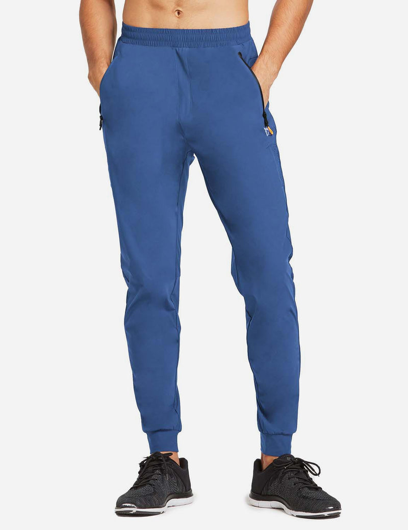 Baleaf Mens Loose-Fit Zipper Side Pocketed Tapered-Leg Joggers Blue front