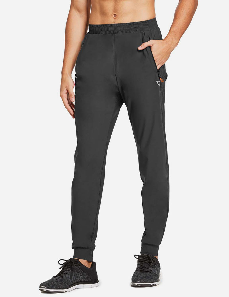 Baleaf Mens Loose-Fit Zipper Side Pocketed Tapered-Leg Joggers Gray side