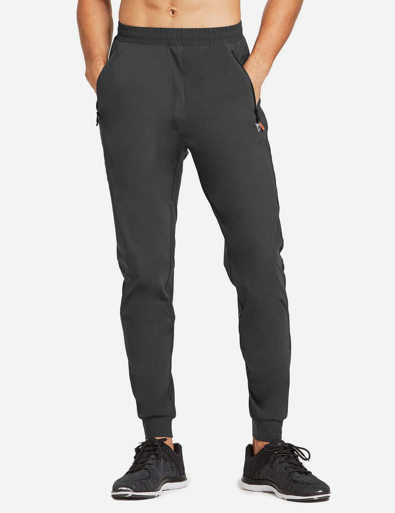 Baleaf Mens Loose-Fit Zipper Side Pocketed Tapered-Leg Joggers Gray front