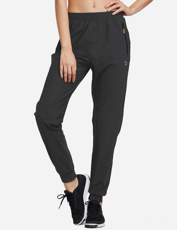 Baleaf Womens Seamless Pockets Tapered Pants black front